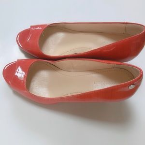Calvin Klein patent leather wedge shoes, open toe